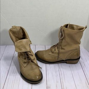 BP leather and cloth military style boots
